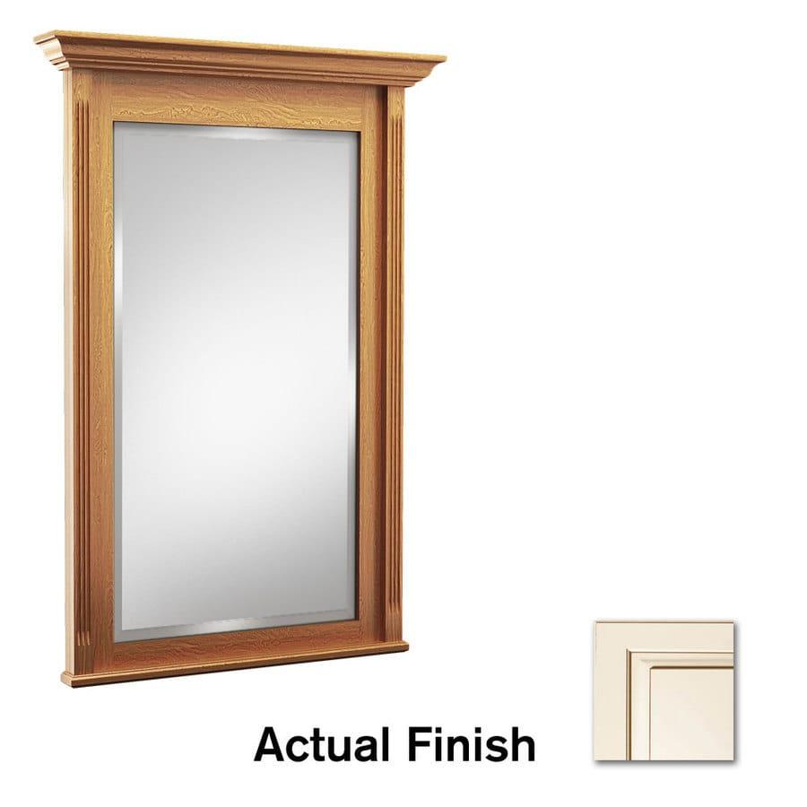 KraftMaid 36-in x 36-in Canvas with Cocoa Glaze Rectangular Framed Bathroom Mirror