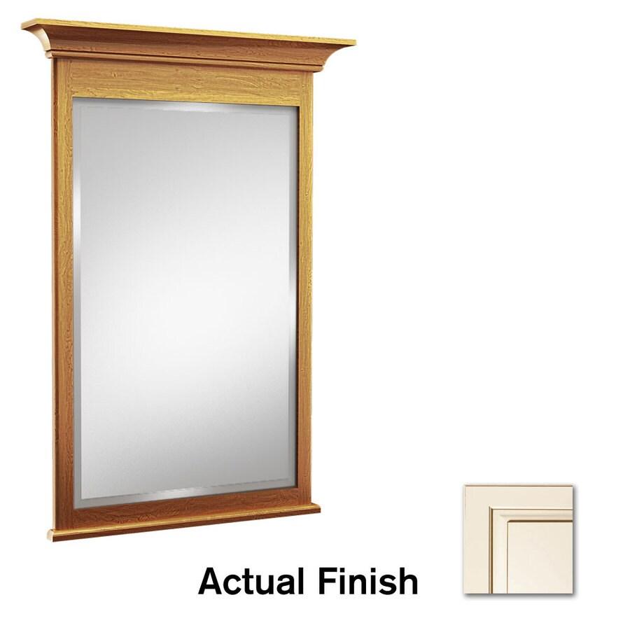 KraftMaid 42-in x 36-in Canvas with Cocoa Glaze Rectangular Framed Bathroom Mirror