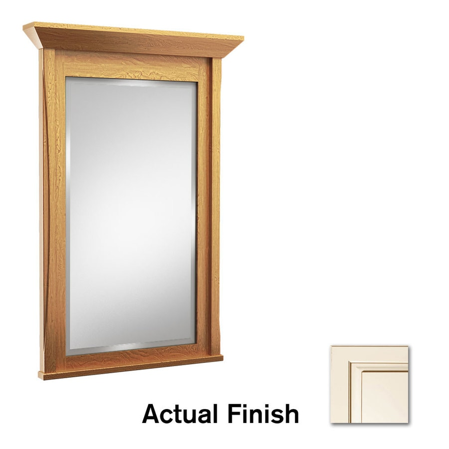 KraftMaid 42-in x 36-in Canvas with Cocoa Glaze Rectangular Framed Bathroom Mirror