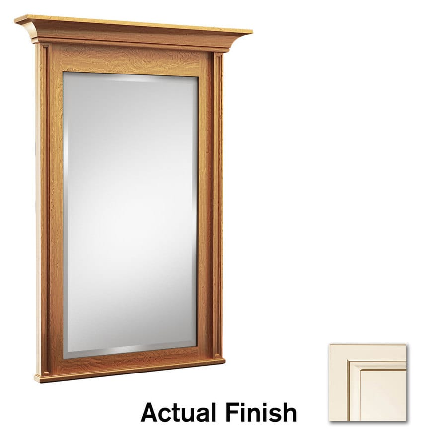 KraftMaid 48-in W x 36-in H Canvas with Cocoa Glaze Rectangular Bathroom Mirror