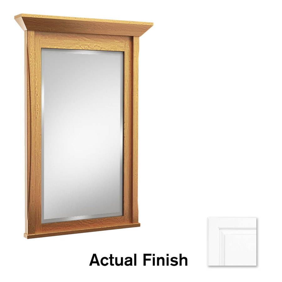 KraftMaid 36-in x 36-in Dove White Rectangular Framed Bathroom Mirror