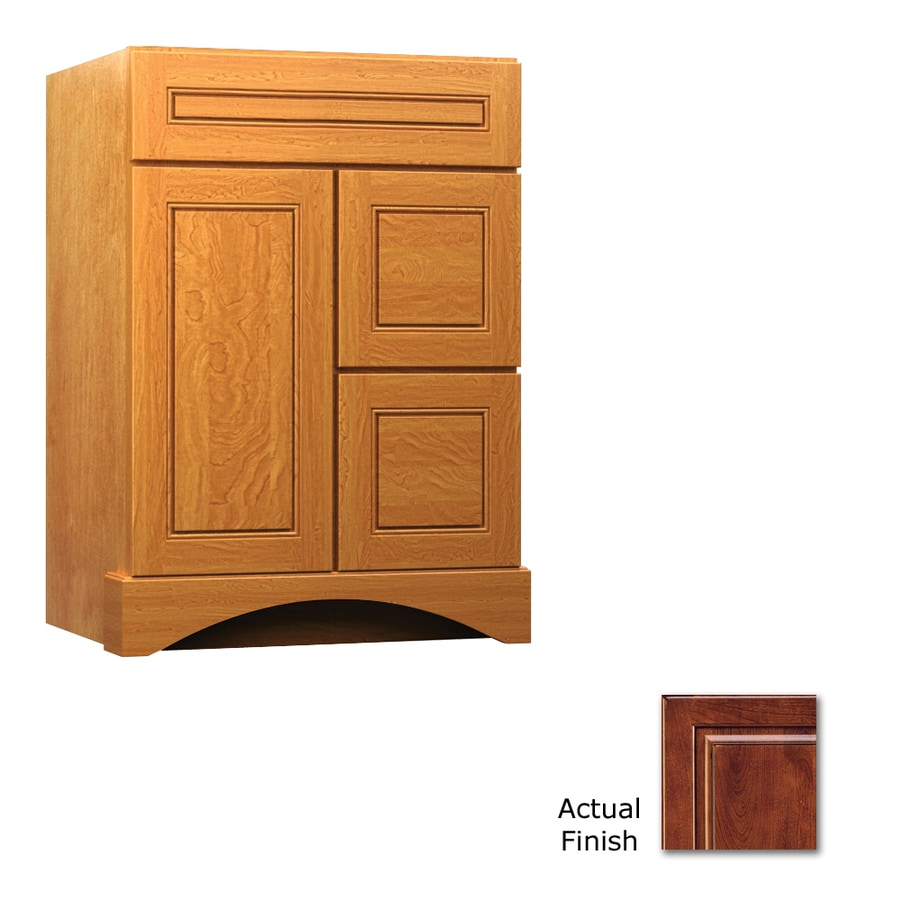 KraftMaid Summerfield Provence Antique Chocolate with Mocha Glaze (Common: 24-in x 21-in) Casual Bathroom Vanity (Actual: 24-in x 21-in)