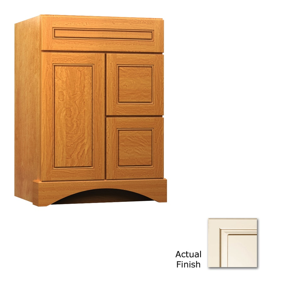 KraftMaid Summerfield Provence Canvas with Cocoa Glaze (Common: 24-in x 21-in) Casual Bathroom Vanity (Actual: 24-in x 21-in)