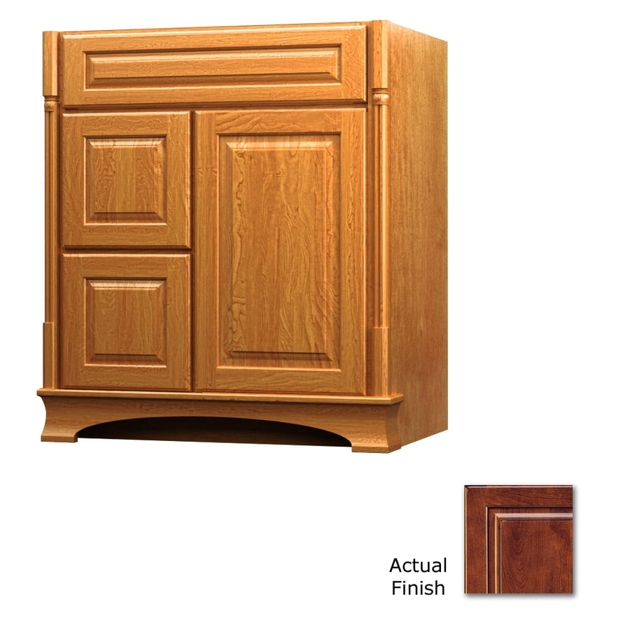 KraftMaid Antique Chocolate with Mocha Glaze Bathroom Vanity (Common: 30-in x 18-in; Actual: 30-in x 18-in)
