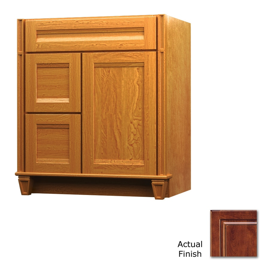 KraftMaid Key Biscayne Sonata Antique Chocolate with Mocha Glaze (Common: 30-in x 21-in) Traditional Bathroom Vanity (Actual: 30-in x 21-in)