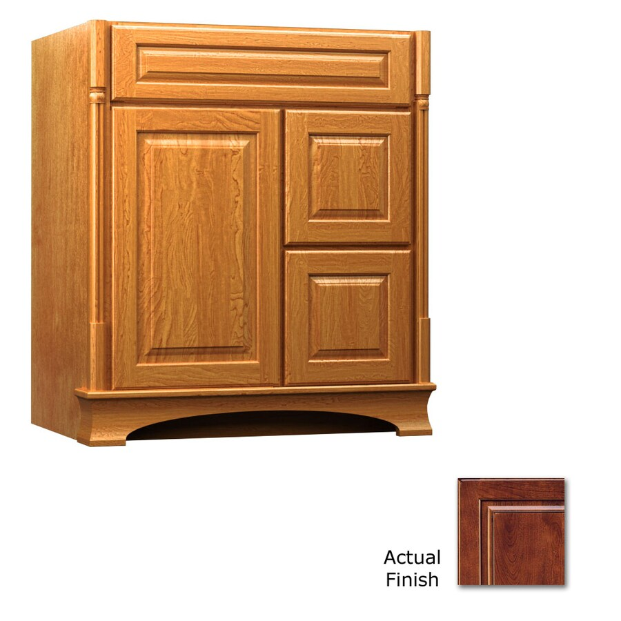 KraftMaid Antique Chocolate with Mocha Glaze 30-in Traditional Bathroom Vanity