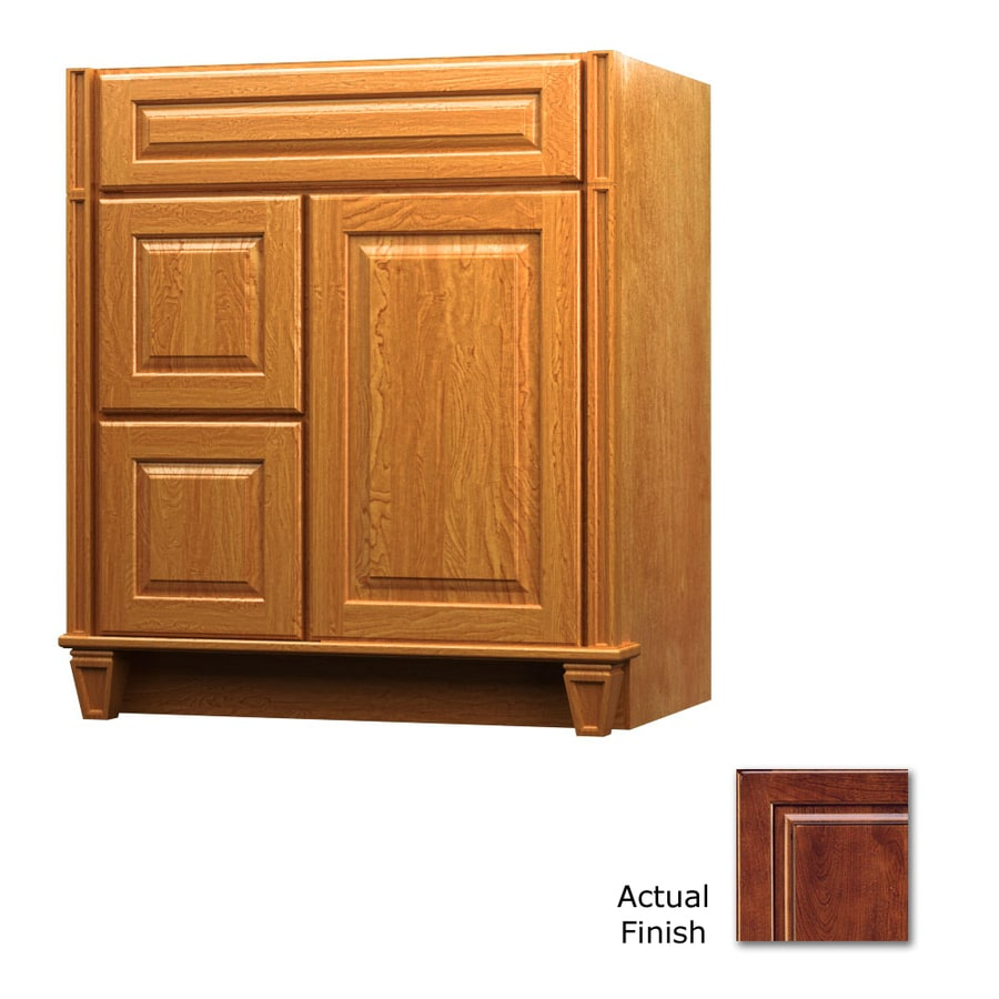 KraftMaid Antique Chocolate with Mocha Glaze Bathroom Vanity (Common: 36-in x 18-in; Actual: 36-in x 18-in)