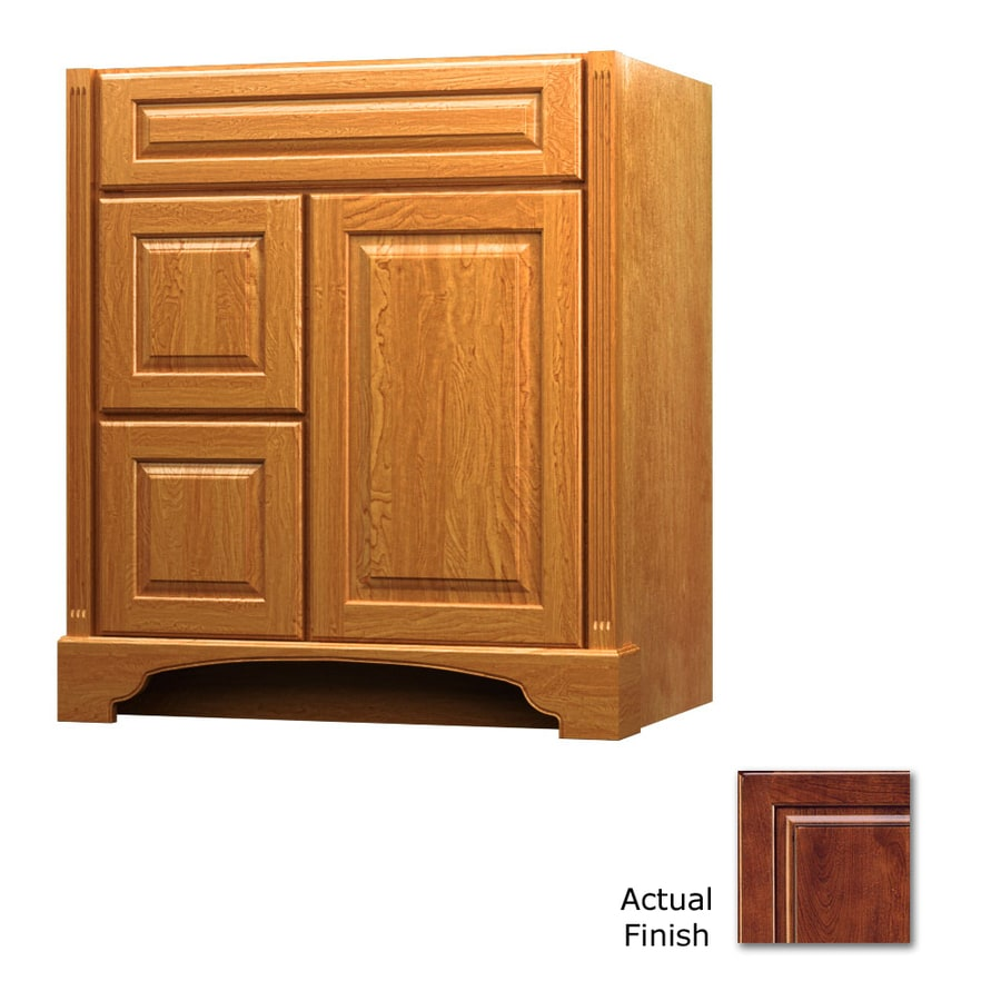 KraftMaid Antique Chocolate with Mocha Glaze 36-in Traditional Bathroom Vanity