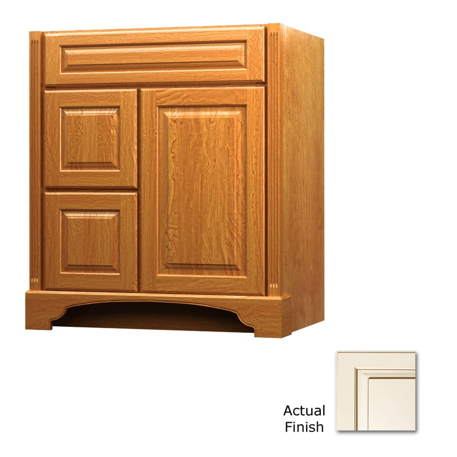 KraftMaid Savoy Montclair Canvas with Cocoa Glaze (Common: 36-in x 21-in) Traditional Bathroom Vanity (Actual: 36-in x 21-in)