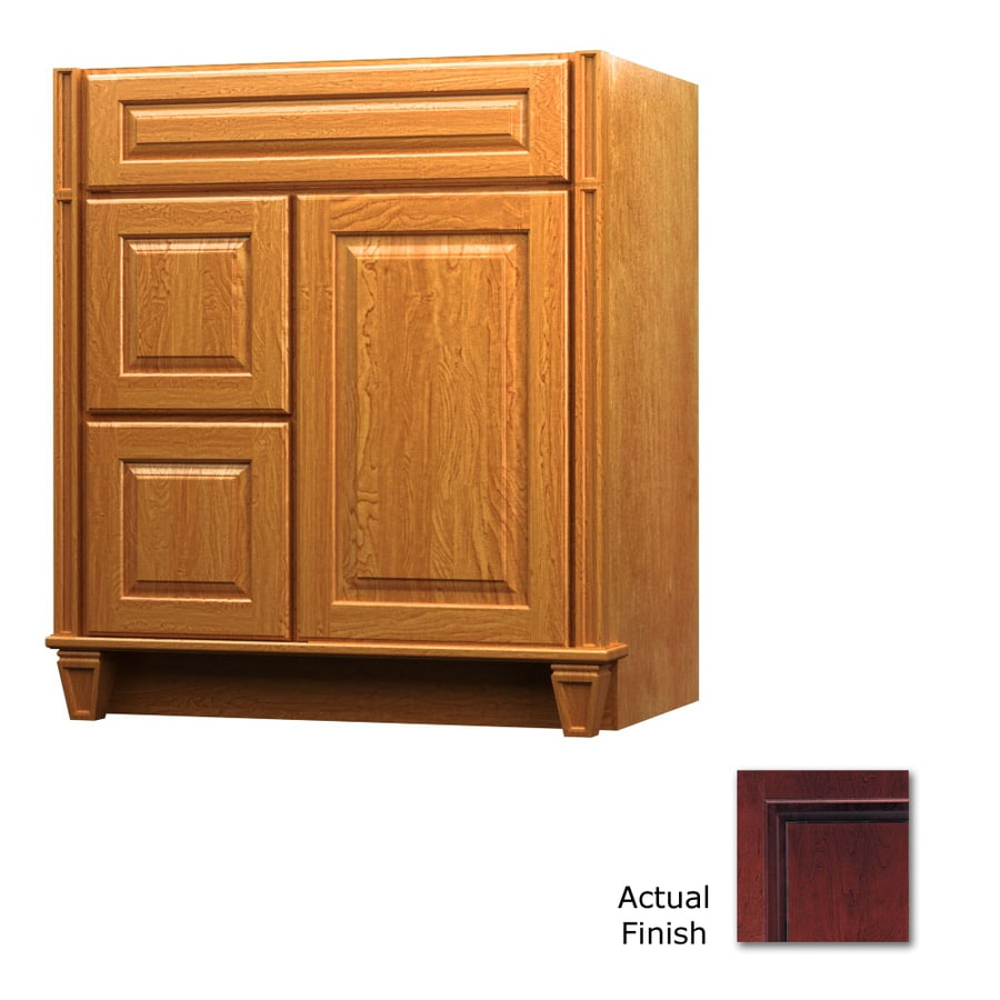 KraftMaid Key Biscayne Montclair Cabernet (Common: 36-in x 21-in) Traditional Bathroom Vanity (Actual: 36-in x 21-in)