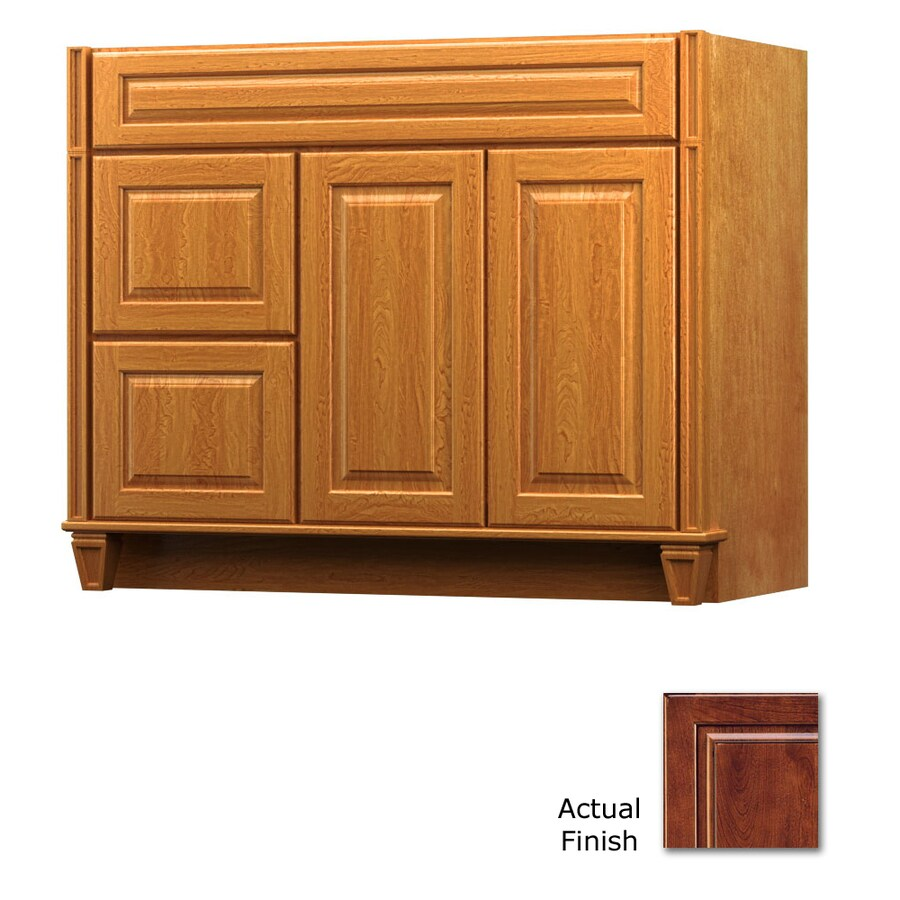 KraftMaid Antique Chocolate with Mocha Glaze Bathroom Vanity (Common: 42-in x 18-in; Actual: 42-in x 18-in)