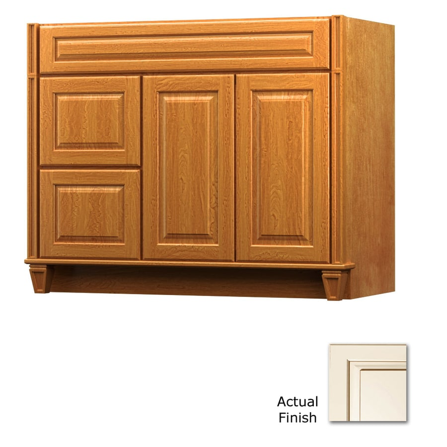 KraftMaid Canvas with Cocoa Glaze Bathroom Vanity (Common: 42-in x 18-in; Actual: 42-in x 18-in)