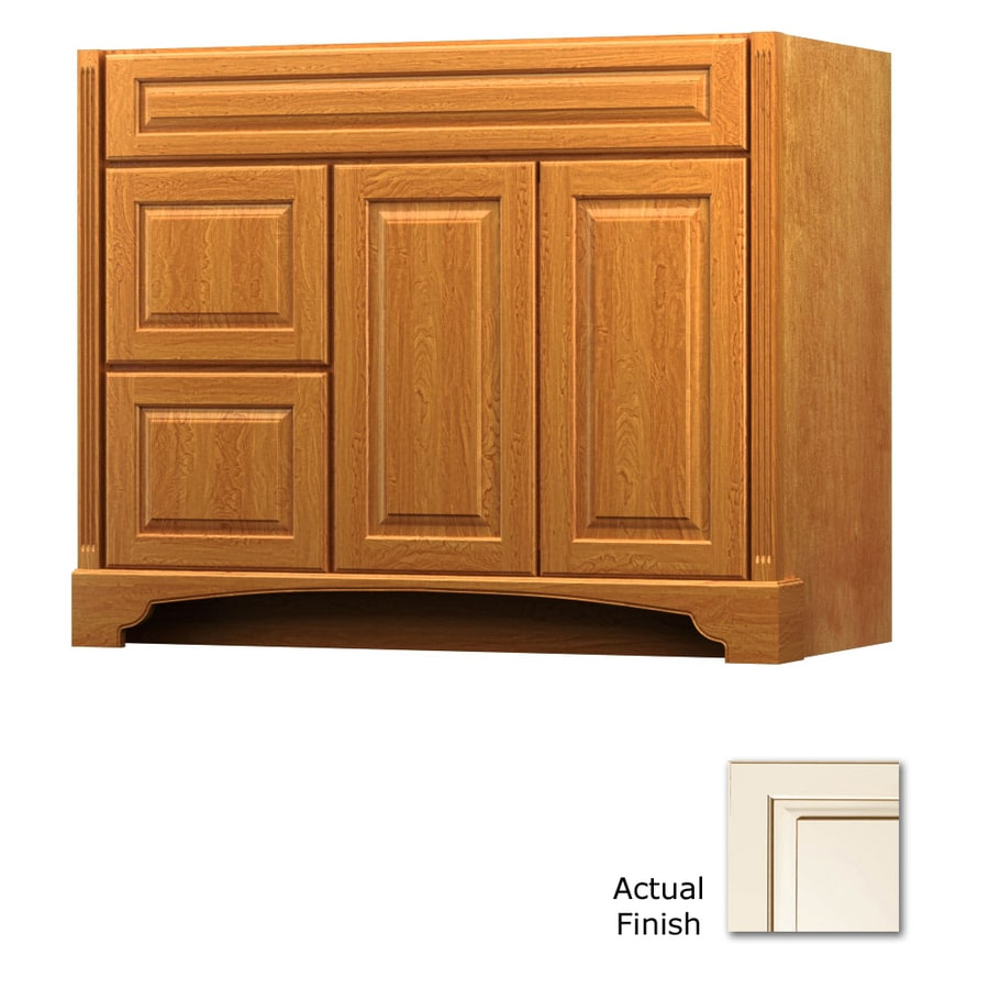KraftMaid Canvas with Cocoa Glaze Bathroom Vanity (Common: 42-in x 21-in; Actual: 42-in x 21-in)