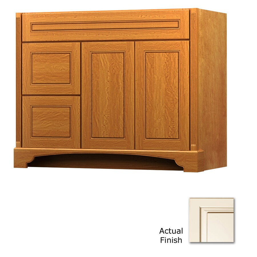 KraftMaid Savoy Provence Canvas with Cocoa Glaze (Common: 42-in x 21-in) Traditional Bathroom Vanity (Actual: 42-in x 21-in)