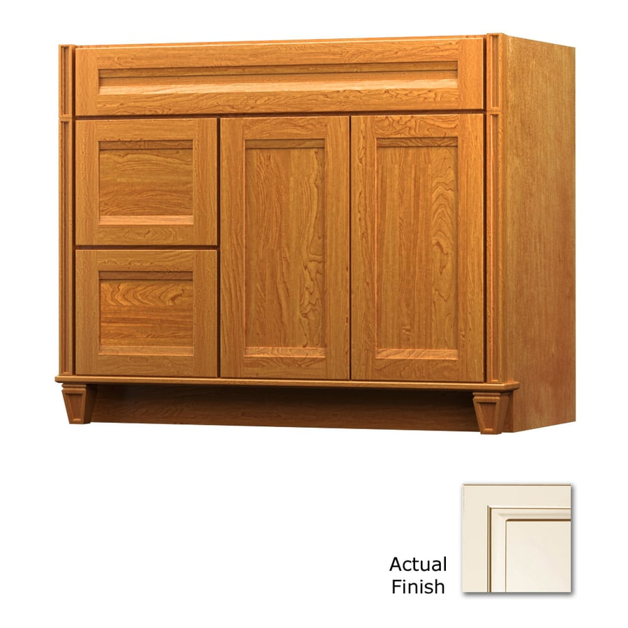 KraftMaid Key Biscayne Sonata Canvas with Cocoa Glaze (Common: 42-in x 21-in) Traditional Bathroom Vanity (Actual: 42-in x 21-in)