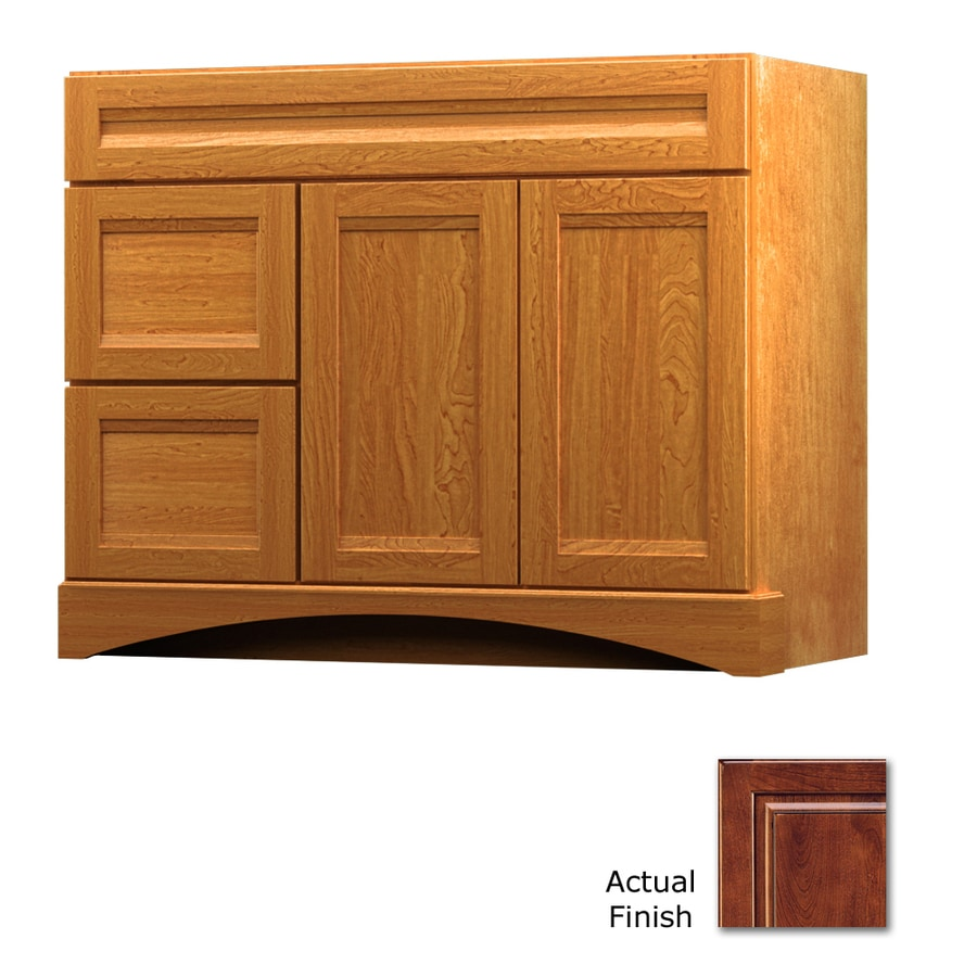 KraftMaid Antique Chocolate with Mocha Glaze Bathroom Vanity (Common: 42-in x 21-in; Actual: 42-in x 21-in)