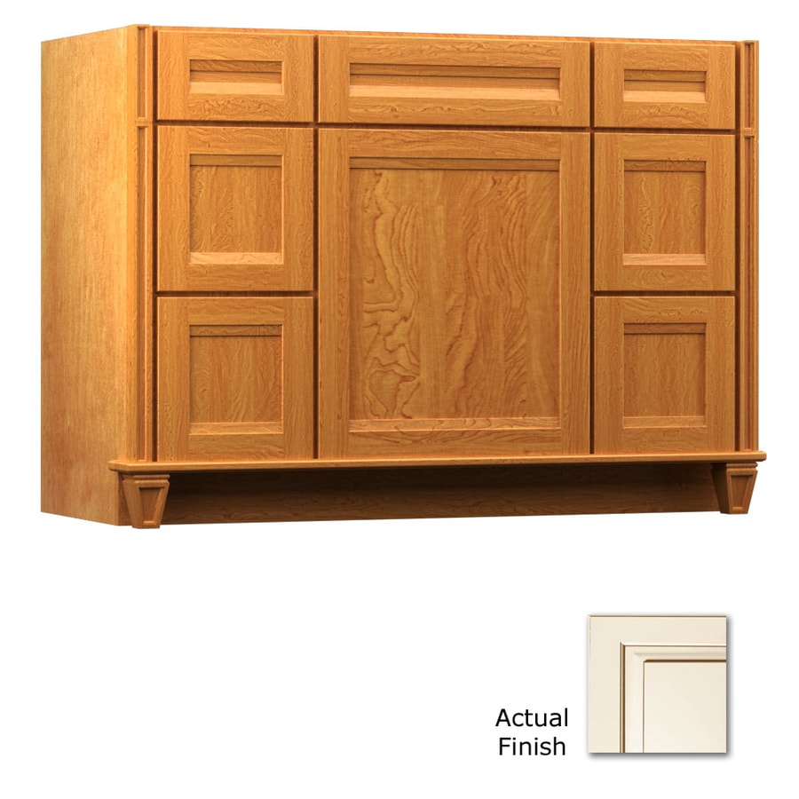 KraftMaid Canvas with Cocoa Glaze 48-in Traditional Bathroom Vanity