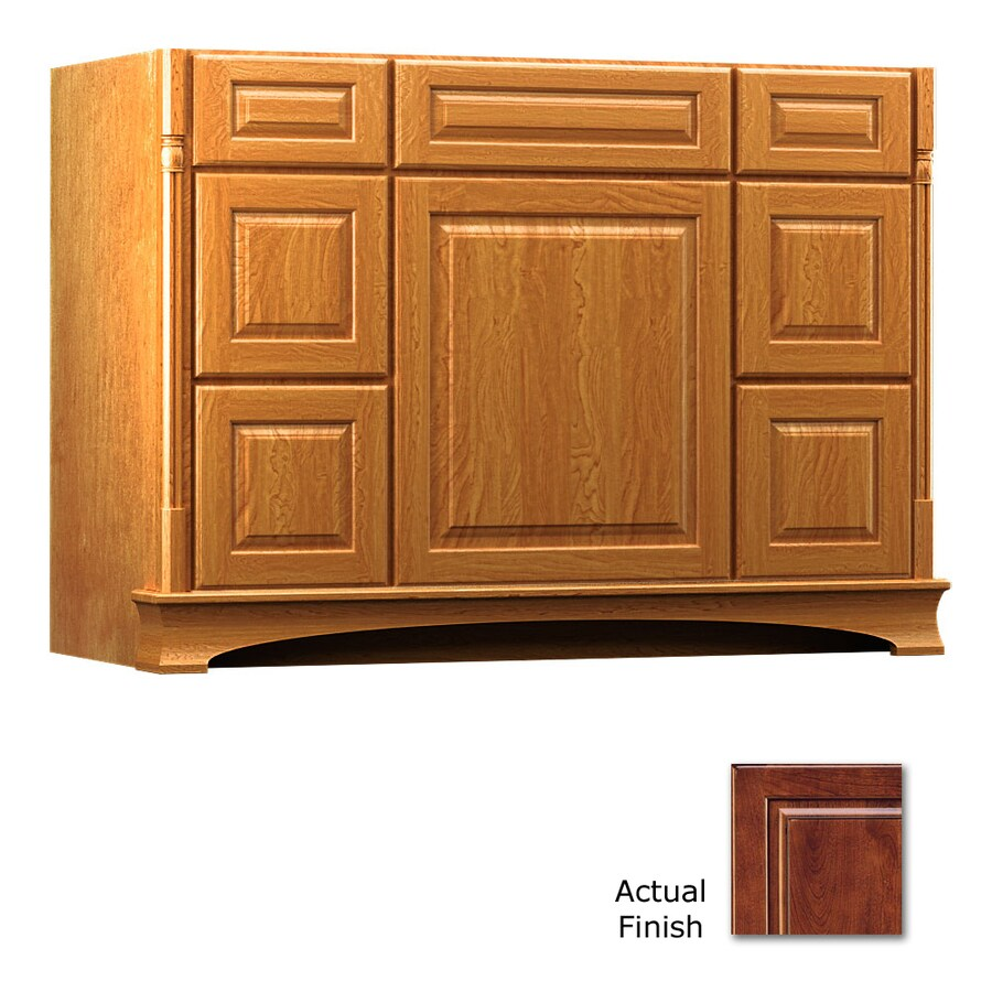 KraftMaid Antique Chocolate with Mocha Glaze 48-in Traditional Bathroom Vanity