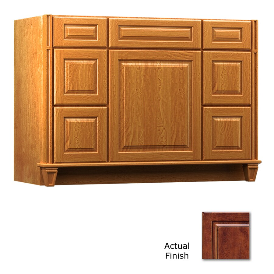 KraftMaid Antique Chocolate with Mocha Glaze Bathroom Vanity (Common: 48-in x 18-in; Actual: 48-in x 18-in)