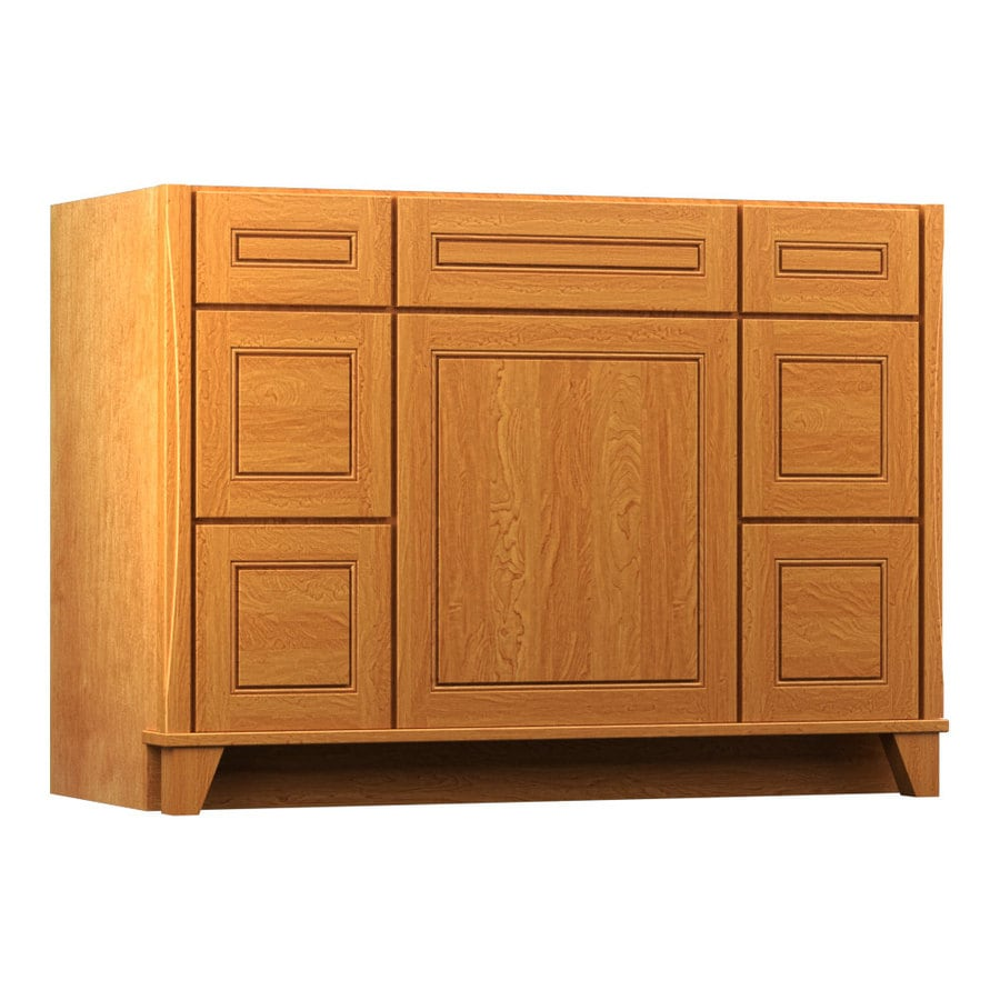 Shop kraftmaid praline bathroom vanity common 48 in x 21 for Bathroom cabinets kraftmaid