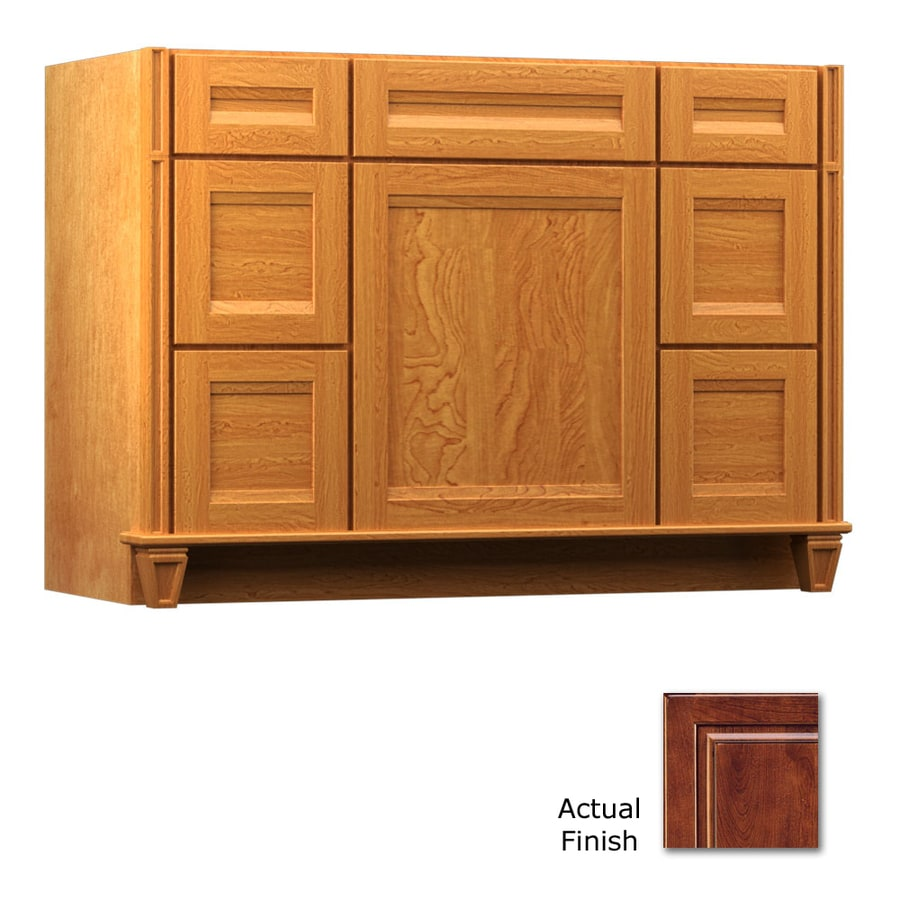 KraftMaid Antique Chocolate with Mocha Glaze Bathroom Vanity (Common: 48-in x 21-in; Actual: 48-in x 21-in)