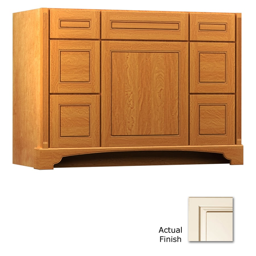 KraftMaid Savoy Provence Canvas with Cocoa Glaze (Common: 48-in x 21-in) Traditional Bathroom Vanity (Actual: 48-in x 21-in)
