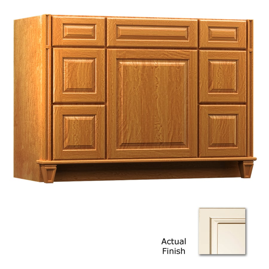 KraftMaid Key Biscayne Montclair Canvas with Cocoa Glaze (Common: 48-in x 21-in) Traditional Bathroom Vanity (Actual: 48-in x 21-in)
