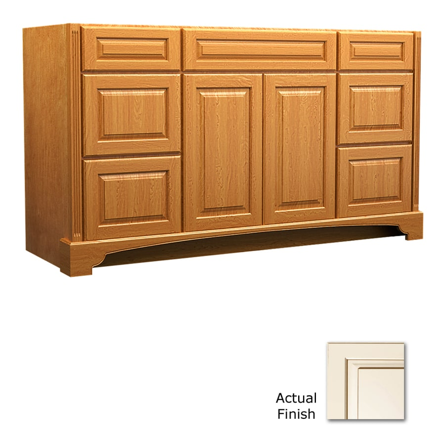KraftMaid Savoy Montclair Canvas with Cocoa Glaze (Common: 60-in x 18-in) Traditional Bathroom Vanity (Actual: 60-in x 18-in)