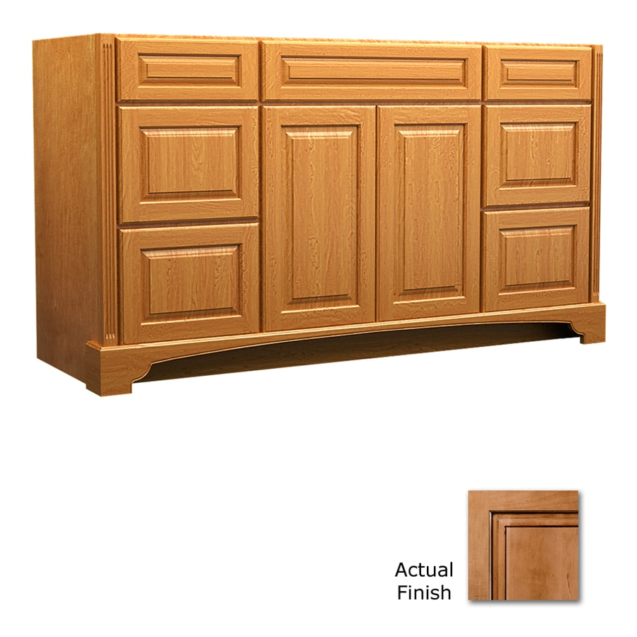 KraftMaid Savoy Montclair Ginger with Sable Glaze (Common: 60-in x 21-in) Traditional Bathroom Vanity (Actual: 60-in x 21-in)