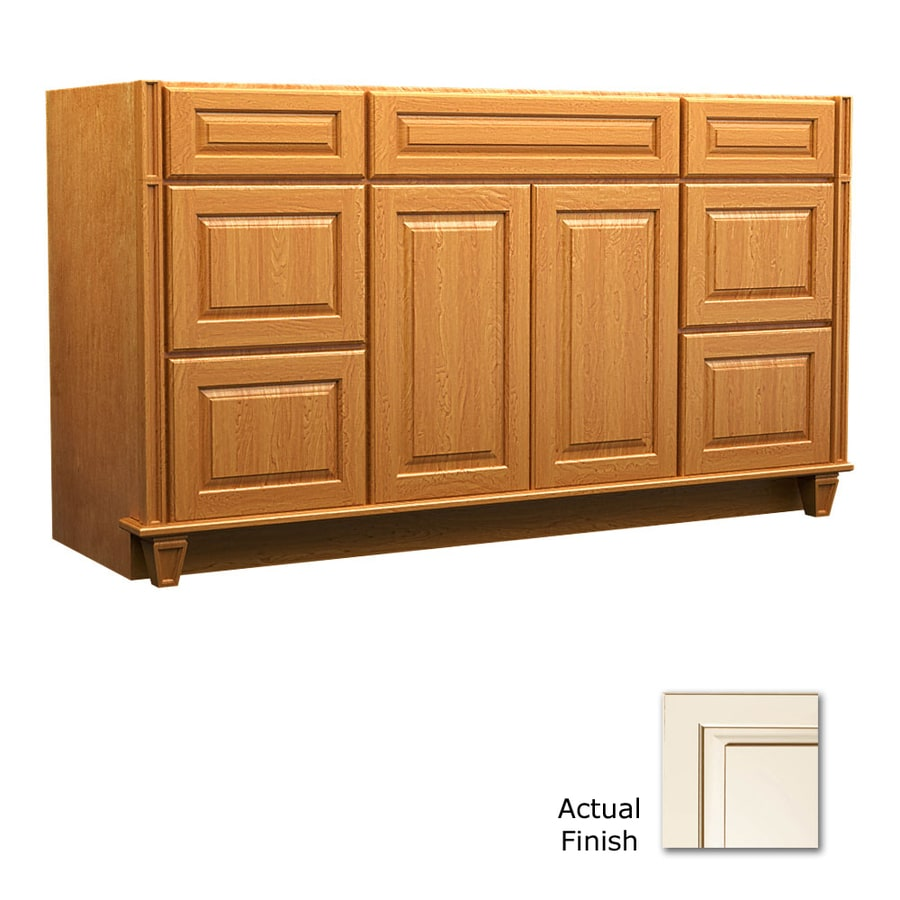 KraftMaid Canvas with Cocoa Glaze 60-in Traditional Bathroom Vanity