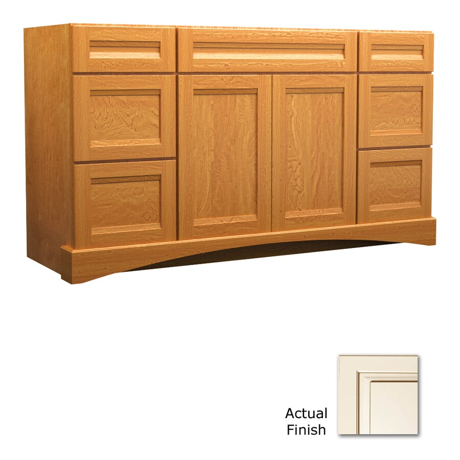 KraftMaid Canvas with Cocoa Glaze Bathroom Vanity (Common: 60-in x 21-in; Actual: 60-in x 21-in)