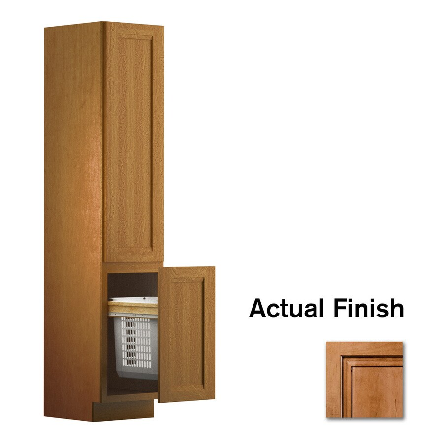 KraftMaid 18-in W x 88.5-in H x 21-in D Ginger with Sable Glaze Maple Freestanding Linen Cabinet