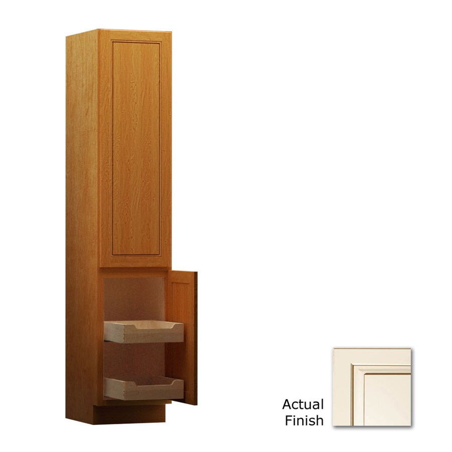 KraftMaid 15-in W x 88.5-in H x 18-in D Canvas with Cocoa Glaze Maple Freestanding Linen Cabinet