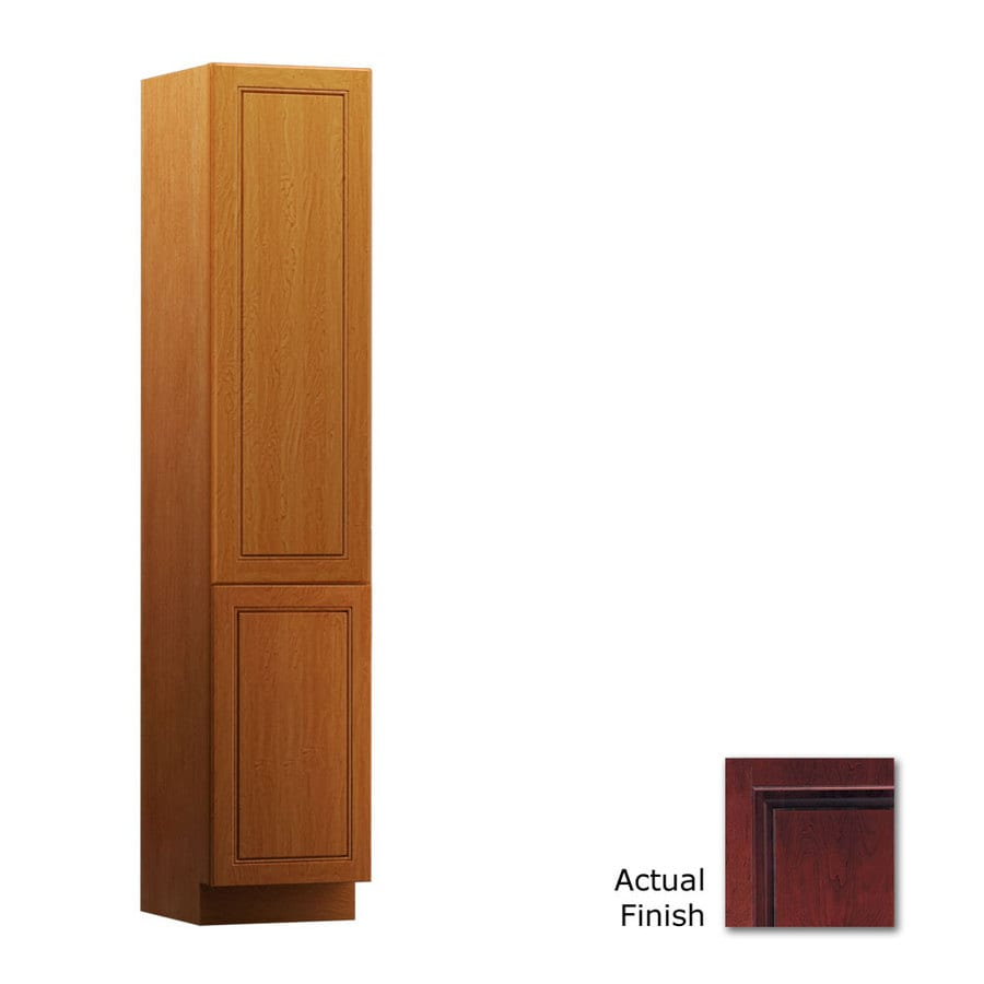 KraftMaid 15-in W x 88.5-in H x 18-in D Cabernet Cherry Freestanding Linen Cabinet