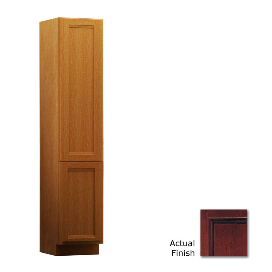 KraftMaid 15-in W x 88.5-in H x 18-in D Cabernet Cherry Freestanding Linen Cabinet