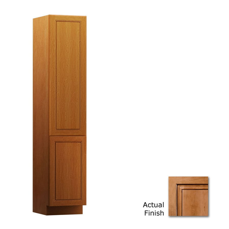 KraftMaid 15-in W x 88.5-in H x 18-in D Ginger with Sable Glaze Maple Freestanding Linen Cabinet
