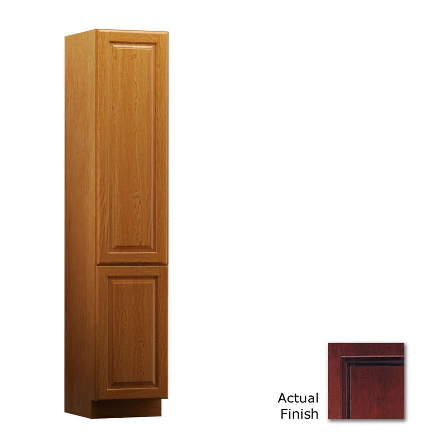 KraftMaid 15-in W x 88.5-in H x 21-in D Cabernet Cherry Freestanding Linen Cabinet