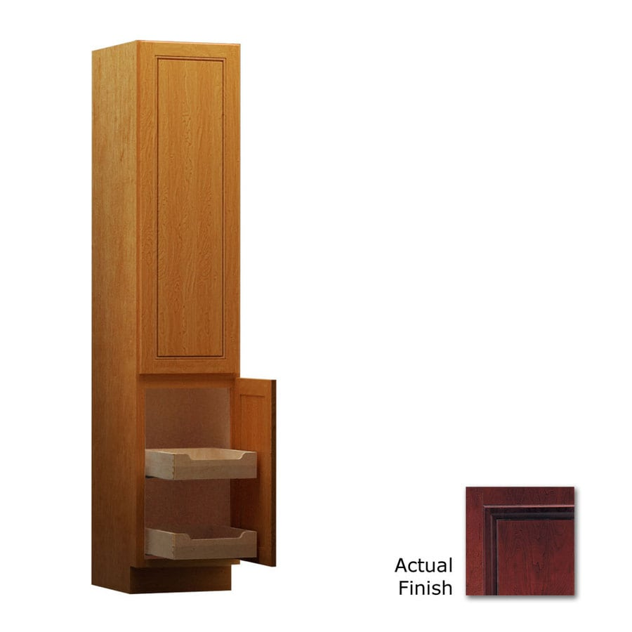 KraftMaid 18-in W x 88.5-in H x 21-in D Cabernet Cherry Freestanding Linen Cabinet