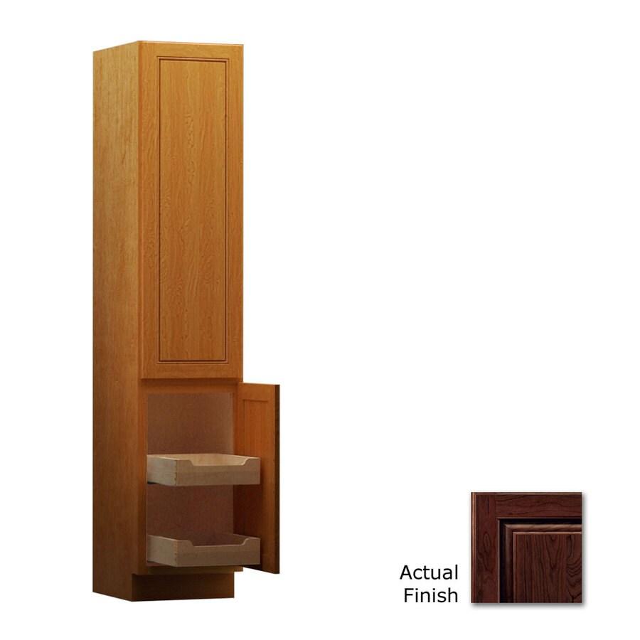 KraftMaid 18-in W x 88.5-in H x 21-in D Kaffe Cherry Freestanding Linen Cabinet