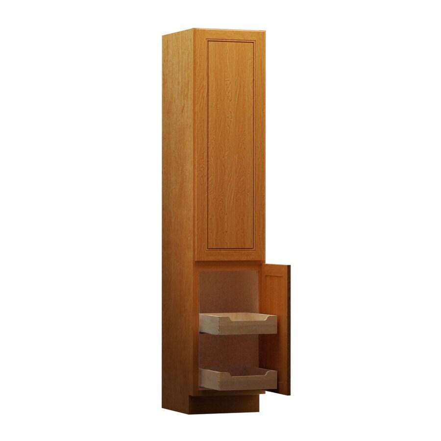 KraftMaid 18-in W x 88.5-in H x 21-in D Praline Maple Freestanding Linen Cabinet