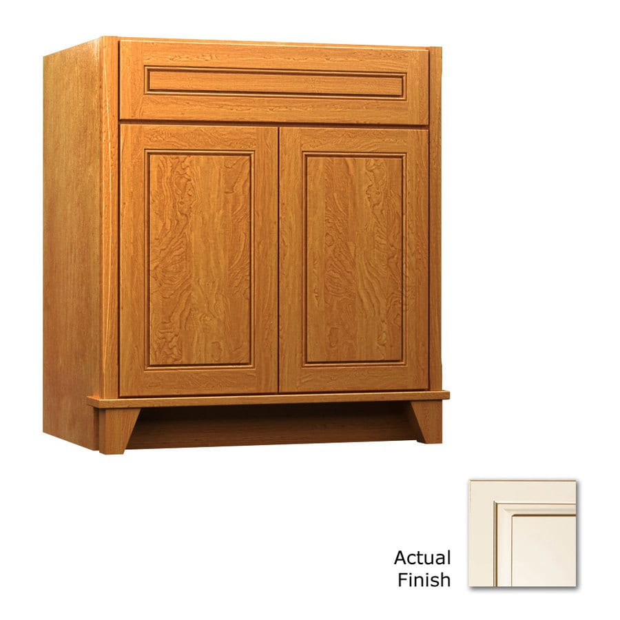 KraftMaid Canvas with Cocoa Glaze Bathroom Vanity (Common: 30-in x 21-in; Actual: 30-in x 21-in)