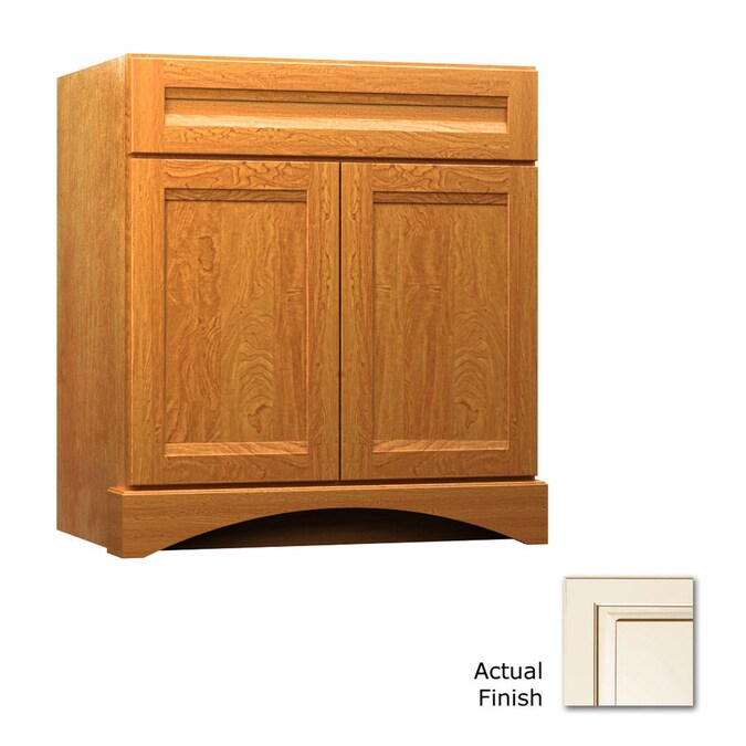 Kraftmaid 30 In Canvas With Cocoa Glaze Bathroom Vanity Cabinet In The Bathroom Vanities Without Tops Department At Lowes Com