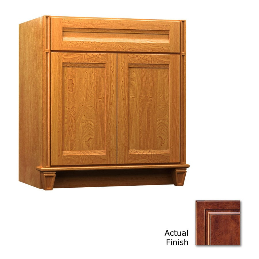 KraftMaid Key Biscayne Sonata Antique Chocolate with Mocha Glaze (Common: 36-in x 18-in) Traditional Bathroom Vanity (Actual: 36-in x 18-in)