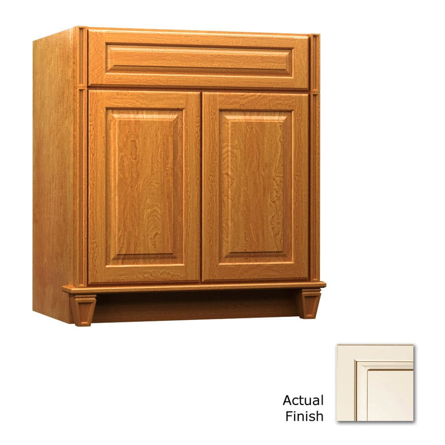 KraftMaid Canvas with Cocoa Glaze Bathroom Vanity (Common: 36-in x 18-in; Actual: 36-in x 18-in)