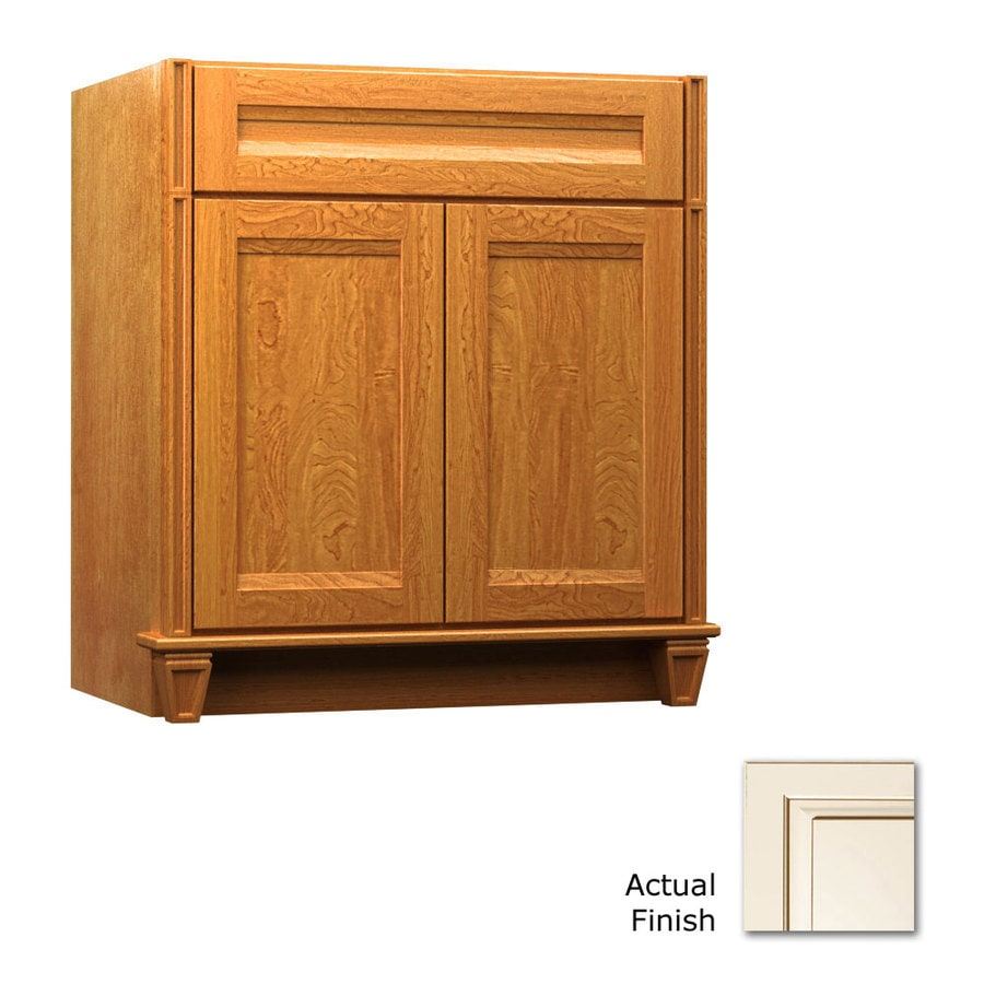 KraftMaid Key Biscayne Sonata Canvas with Cocoa Glaze (Common: 36-in x 18-in) Traditional Bathroom Vanity (Actual: 36-in x 18-in)