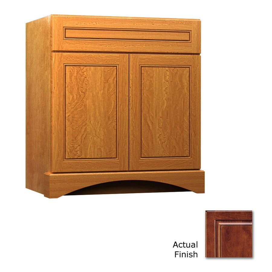 KraftMaid Summerfield Provence Antique Chocolate with Mocha Glaze (Common: 36-in x 21-in) Casual Bathroom Vanity (Actual: 36-in x 21-in)