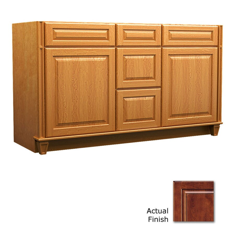 KraftMaid Key Biscayne Montclair Antique Chocolate with Mocha Glaze (Common: 60-in x 21-in) Traditional Bathroom Vanity (Actual: 60-in x 21-in)