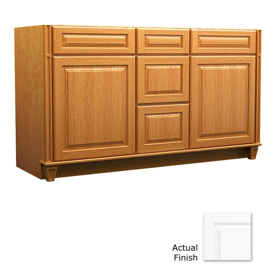 KraftMaid Key Biscayne Montclair Dove White (Common: 60-in x 21-in) Traditional Bathroom Vanity (Actual: 60-in x 21-in)