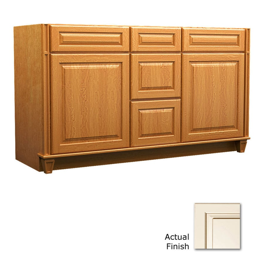 KraftMaid Key Biscayne Montclair Canvas with Cocoa Glaze (Common: 60-in x 21-in) Traditional Bathroom Vanity (Actual: 60-in x 21-in)
