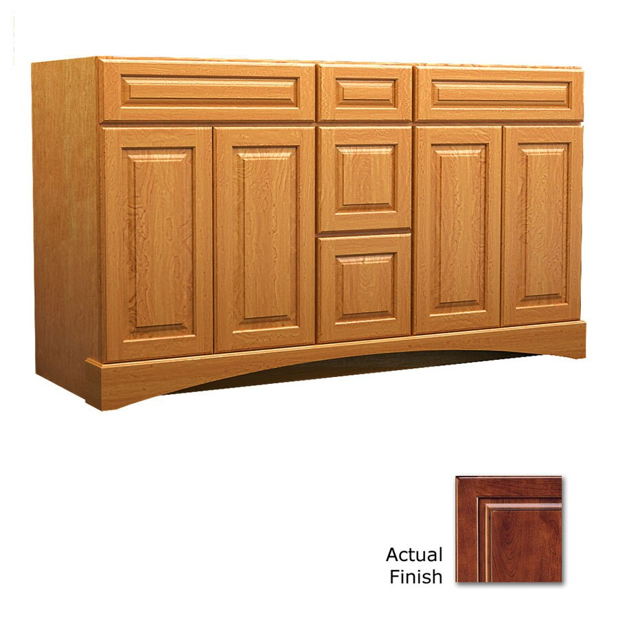 KraftMaid Antique Chocolate with Mocha Glaze Bathroom Vanity (Common: 60-in x 21-in; Actual: 60-in x 21-in)